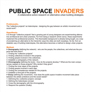 Public Space Invaders - Research Programme
